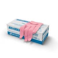 Перчатки нитриловые розовые размер М 1 пара