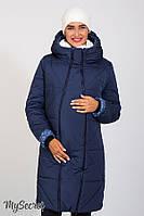 Зимнее теплое пальто для беременных ANGIE синее