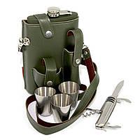 Фляга в чехле со стопками и перочинным ножом PT-9