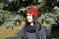 Шапка женская теплая на флисе крупная вязка