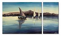 Модульная картина лодки и холмы 3д