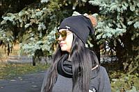 Женская шапка трикотажная на флисе с бубоном