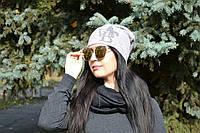Женская  шапка ангора двойная молодежная стильная