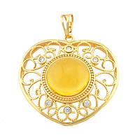 Кулон ажурное сердце 32225 размер 42*35 мм, жёлтый искусственный камень, позолота 18К