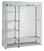 Большой тканевый шкаф на металлическом каркасе 174см
