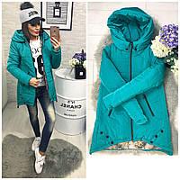 Куртка парка женская (305) зима морская волна