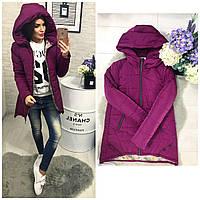 Куртка парка женская (305) зима марсала
