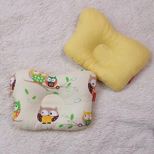 """Подушка бабочка для новорожденных """"Совы"""" желтая"""