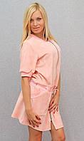 Женское велюровое платье персик, фото 1