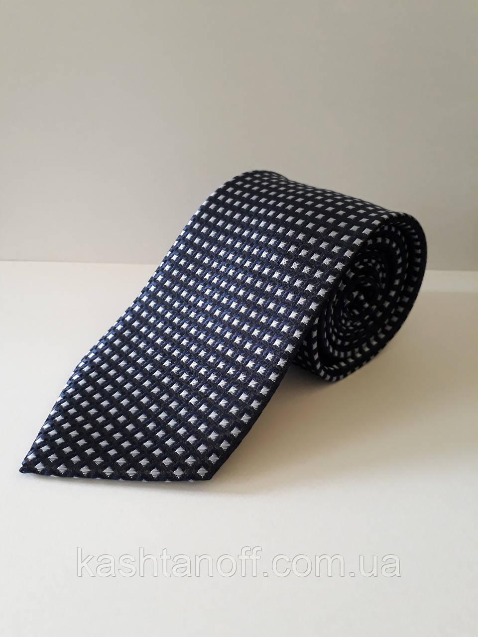 Краватка класичний темно-синій білий квадрат