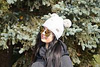 Женская шапка молодежная двойная ангора с бубонами
