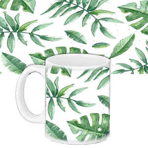 Кружка подарунок з принтом Зелене листя