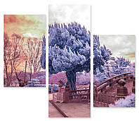 Модульная картина голубое дерево 3д