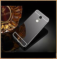 Металлический бампер Epik с акриловой вставкой с зеркальным покрытием для Xiaomi Redmi Note 4 (MTK) Black