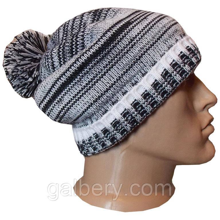 Зимняя шапка носок с помпоном