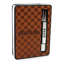 """Портсигар с выбросом сигарет и зажигалкой """"Travelers"""" 9,5х6,5х2см (30786)"""
