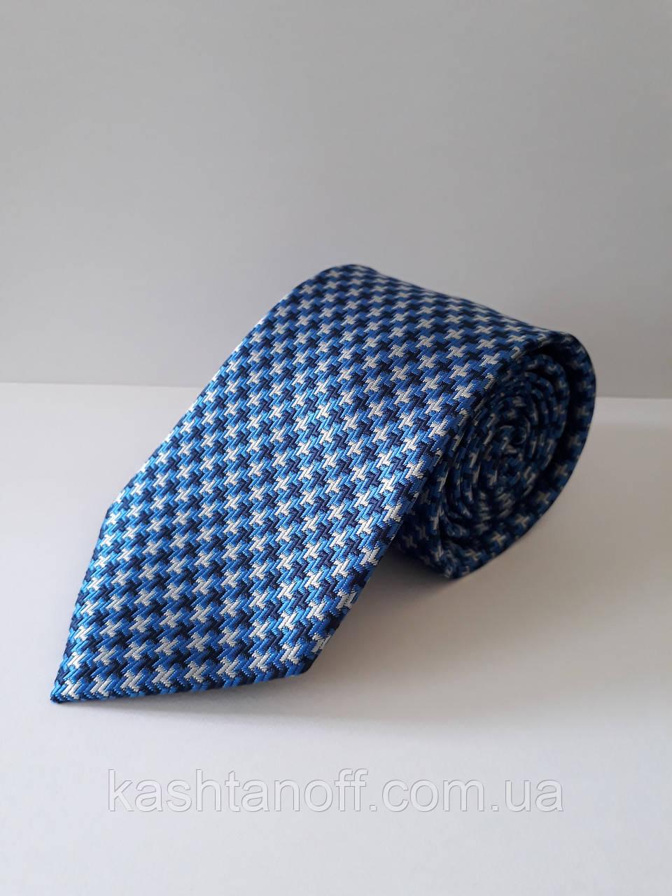 Краватка класичний блакитний з абстрактним малюнком