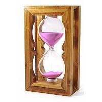Часы песочные в бамбуке красный песок 18х8,5х5 см (28807A)