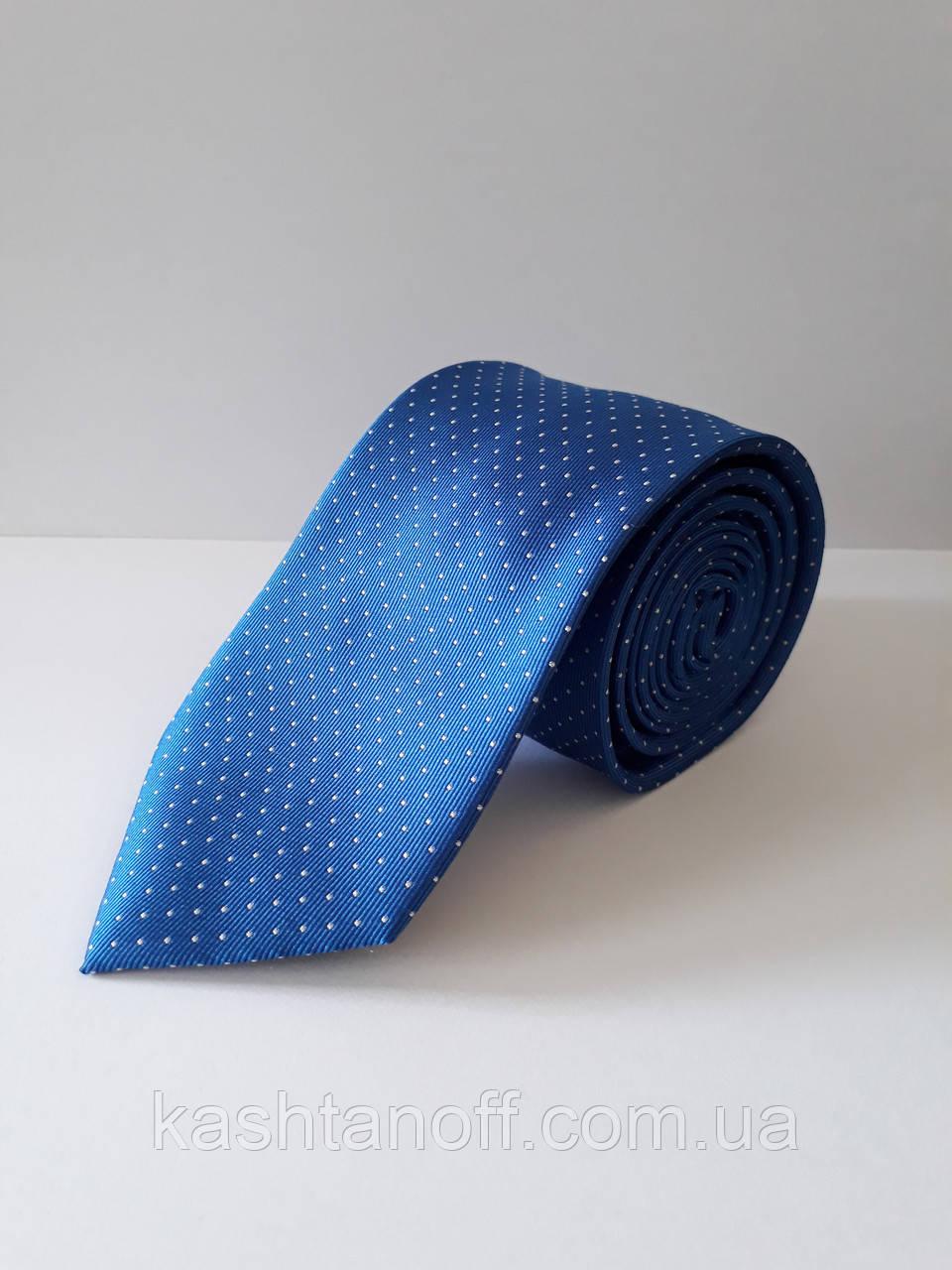 Галстук классический голубой с точечным рисунком