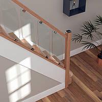 Комбинированные деревянные перила со стеклом