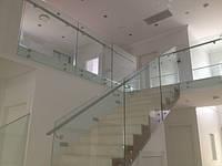 Стеклянные перила лестницы на зажимных шайбах с поручнем