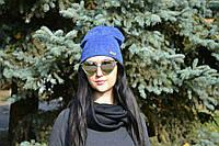Женская шапка стильная молодежная ангора двойная