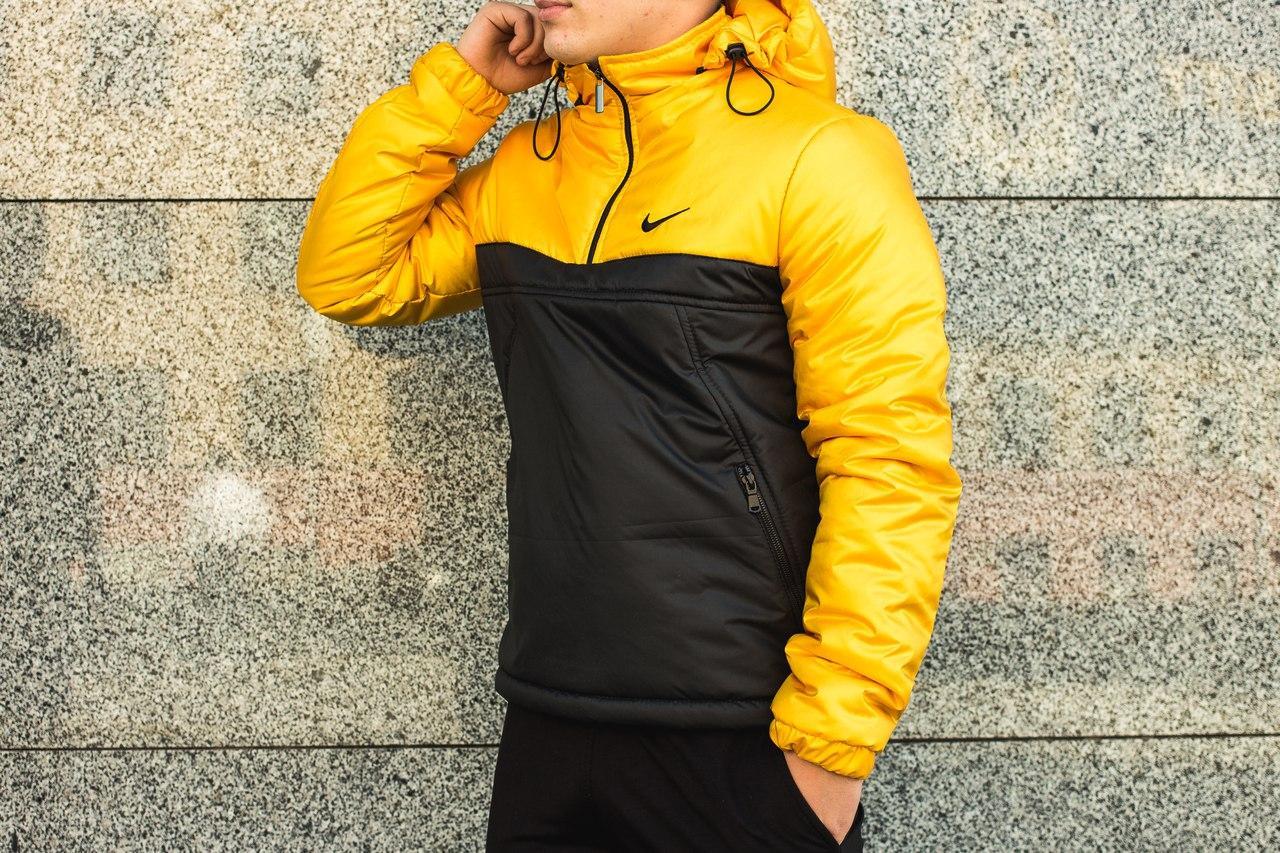 Мужская куртка Nike анорак желто - черная топ реплика