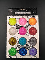 Блестки для дизайна ногтей 12 шт разные цвета
