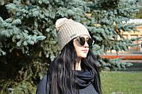 Женская шапка стильная двойная