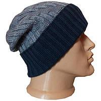 Вязаная мужская шапка - носок машинной вязки - тренд осенне - зимнего сезона