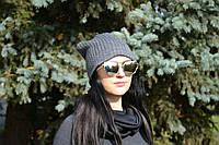 Женская шапка крупная вязка,на флисе