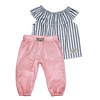 Костюм Andriana Kids : Полосатая туника и розовые штаны 6,9,12 мес