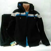 Тёплый натуральный спортивный костюм, Турция, Linke, темно-синий.