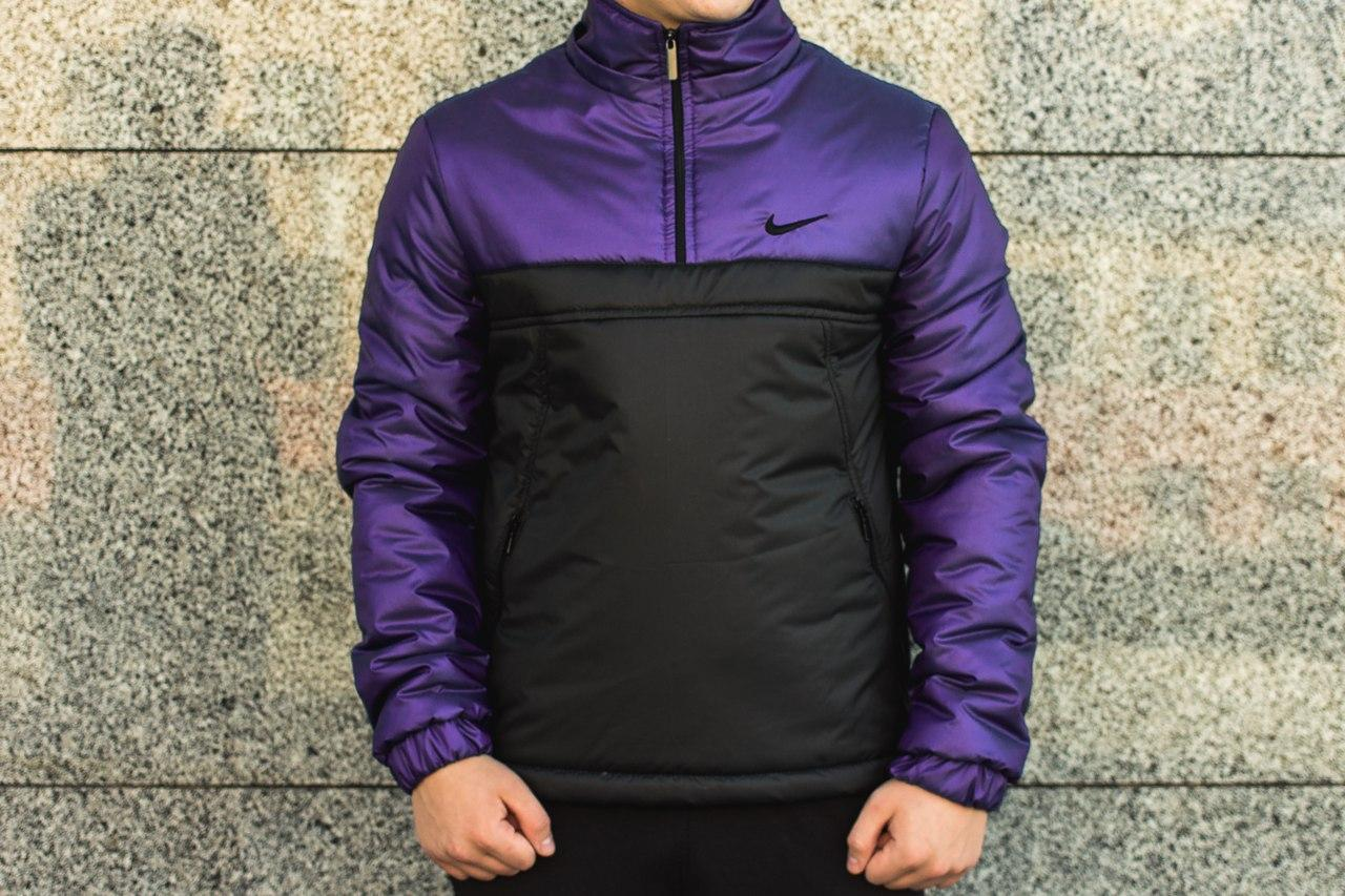 Мужская куртка Nike анорак сиренево - черная топ реплика
