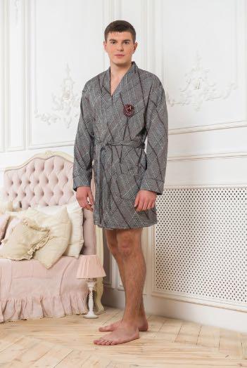 Халат мужской серый теплый, вискоза, ТМ ANNA CHRISTINA (5052)