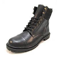 Ботинки  мужские  с мехом BASTION кожаные черные (р.41,42,44,45)