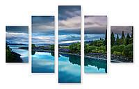 Модульная картина река и небо 3D