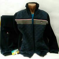 Тёплый спортивный костюм, Турция, Linke, темно-синий, со вставкой из плащевки, размер 56, 58.