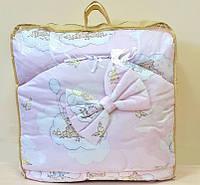 Постельный комплект в детскую кроватку 8-ми предметный, №54,1 мишки на облаках, розовый