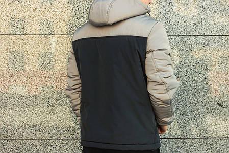 Мужская куртка Nike анорак черно-серая топ реплика, фото 2