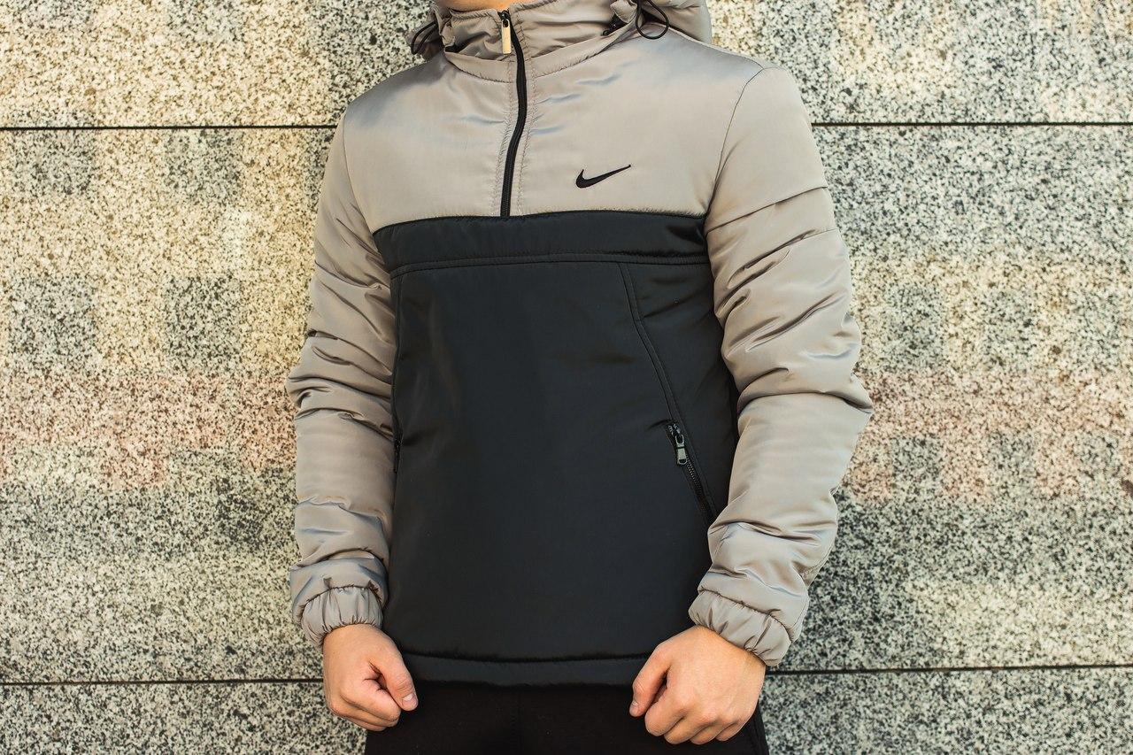 Мужская куртка Nike анорак черно-серая топ реплика