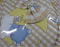 Постельный комплект в детскую кроватку 8-ми предметный, №77,1 мишки на месяце (бежевая клетка) new