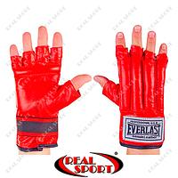 Шингарты Everlast VL-01044-R кожаные (р-р S-XL, красный)