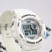 Спортивные часы Q&Q M051J008Y белые кварцевые электронные водонепроницаемые противоударные 5 Bar с подсветкой