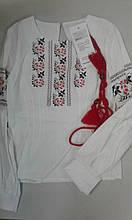 """Вишиванка дівч. Luxik """"Рута"""" ШМ33, 134 біла з червоним малюнок"""