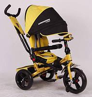 Трехколесный велосипед с поворотным сиденьем Azimut Crosser T-400 желтый (пенорезина)