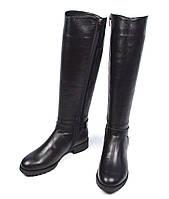 Черные зимние женские кожаные сапоги Fascino на меху ( шерсть, европейка )