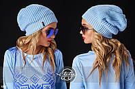 Шапка женская вязанная, шапка-бини - 12617