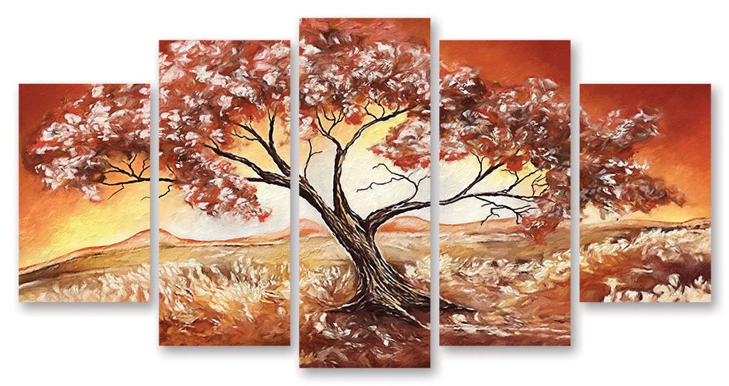 Модульная картина красное дерево