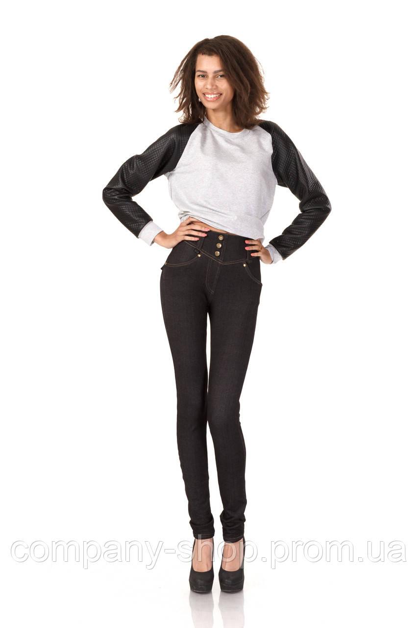 Леггинсы утепленные флисом под джинс. Модель L038_черный джинс.